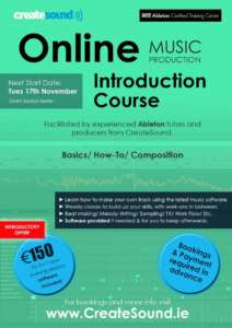 Online Music Production Course (Ableton) at CreateSound